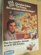 Page De Revue Des Années 70/80 : PUBLICITE  AUTOCOLLANTS DANONE SOS ANIMAUX , Format : Page A4 - Autocollants