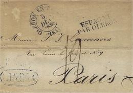 1835- Letter From LISBOA  To Paris  - Entrance : ESPAGNE / PAR OLERON Noir + Cad Oleron En Bearn  -taxe 12 D - ...-1853 Préphilatélie