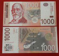 SERBIA 1000 Dinara 2014 UNC Prefix AA Low Serial Number - Serbia