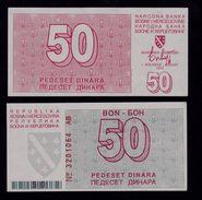 BOSNIA 50 Dinara 1.8.1992  UNC/aUNC Pick 23 Sarajevo Bon Coupon Rare Prefix AB - Bosnië En Herzegovina