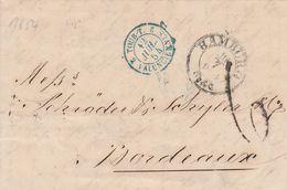 Cachet D'entrée Tour-T / Valenciennes Sur Lettre Hamburg 1854 - Marcophilie (Lettres)