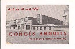 Tecalemit - Congés Annuels Du 8 Au 23 Août 1949 - 10,5 X 6,5 Cm - - Frankreich