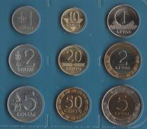 LIETUVA COIN SET 9 MONNAIES 1 CENTAS - 5 LITAI  1991 -  2010 BIMETAL - Lituania