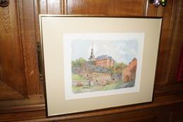 Floreffe,superbe Ancien Dessin Aquarelle Originale,l'Abbaye,signé Cosse Georges De Bouge,51/41 Cm. - Watercolours