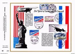 Du Spirit Of Saint-Louis Au Concorde, Document édition CEF à Nice, 5 Oblitérations Différentes 1977 (CEF6) - Avions