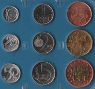 CESKA REP.  COIN SET 9 MONNAIES 10 HELLER - 50 KORUNA 1993 -  2002 BIMETAL - Czech Republic