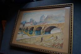 Huy,très Belle Aquarelle De 1936,signé Leroy,superbe état,originale,51 Cm. Sur 36 Cm. - Watercolours