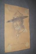 Splendide Ancien Dessin Crayon De Baden Powel,signature à Identifier,originale,37 Cm. Sur 23,5 Cm.Scoutisme,collection. - Watercolours