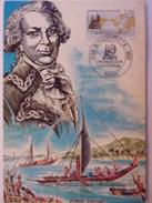 FRANCE CARTE MAXIMUM. 1988 YVERT 2521 GRAND NAVIGATEURS BOURGAINVILLE - Maximumkaarten
