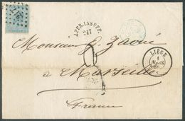 N°18 - 20 Centime Bleu, Obl. LP.217 Sur Lettre De LIEGE Le 1 Mars 1866 (début D'usage) Vers Marseille + Taxe 3 Au Tampon - 1865-1866 Profil Gauche
