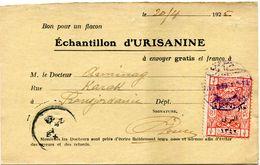 TRANSJORDANIE / PALESTINE CARTE POSTALE BON POUR UN FLACON ECHANTILLON D'URISANINE DEPART KERAK 23-4-25 POUR LA FRANCE - Palästina
