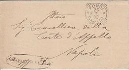 Fondi.1905. Annullo Tondo Riquadrato FONDI (CASERTA) + Ovale PRETORE DI FONDI + Testo, Su Lettera In Franchigia - Storia Postale