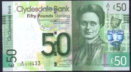 UK Scotland 50 Pounds 2015 UNC Clydesdale Bank Rare - [ 3] Scotland