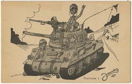Tank De La Victoire 1945 Croix Lorraine Americain Signée Jourdain 1947 Pub Hotel De La Poste Rouvray 21 - Matériel