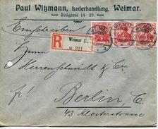ENV 1 - Allemagne   :  LETTRE RECOMMANDEE  : De  WEIMAR   à  ...........16.06.1906  - 3 Timbre 10 DEUTSCHES REICH ROUGES - Deutschland