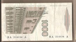 "Italia - Banconota Circolata Da £ 1000 ""Marco Polo"" Suffisso ""A"" P-109a - 1982 - [ 2] 1946-… : République"