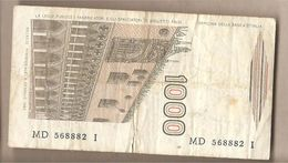 """Italia - Banconota Circolata Da £ 1000 """"Marco Polo"""" Suffisso """"D"""" - 1985 - [ 2] 1946-… : Républic"""