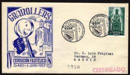 España 1957 SOBRE - Matasello Especial. IV Exposición Filatélica. GRANOLLERS - 1931-Hoy: 2ª República - ... Juan Carlos I