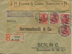 ENV 2 - Allemagne   :  LETTRE RECOMMANDEE  : De  NORTORF   à  ........1.06.1906  - 4 Timbres 10 DEUTSCHES REICH ROUGES - Deutschland