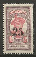 MARTINIQUE N° 85 NEUF* TRACE DE CHARNIERE TTB  / MH - Martinique (1886-1947)