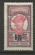 MARTINIQUE N° 87 NEUF*  CHARNIERE TB  / MH - Martinique (1886-1947)