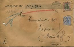 ENV 4 - Allemagne   :  Brief Geladen - LETTRE CHARGEE  : De  ROSSWEIN   à  ...1906  - 1 Timbre 50 Et 1 à 20 D.Reich - Deutschland
