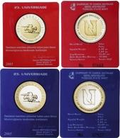 AC - 23th UNIVERSIADE COMMEMORATIVE BIMETALLIC COIN RED & BLUE PAIR / SET IZMIR, TURKEY 2005 UNCIRCULATED - Turkije