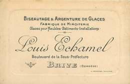 261217 - Carte De Visite - 19 BRIVE Miroiterie Biseautage Argenture Glaces LOUIS ECHAMEL Bd De La Sous Préfecture TARIF - Brive La Gaillarde