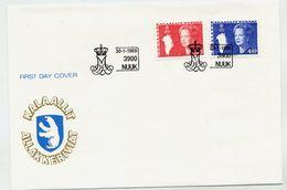 GREENLAND 1989 Queen Margarethe Definitive 3.20, 4.40 Kr. On FDCs .  Michel  189-90 - FDC