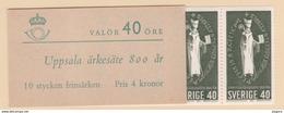 UPPSALA CHURCH HISTORY RELIGION BISHOP SEAL SWEDEN SUEDE SCHWEDEN 1964 MI 517   MNH BOOKLET 10 STAMPS  Slania - Christianity
