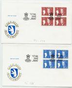 GREENLAND 1988 Queen Margarethe Definitive 3.00, 4.10 Kr. Blocks Of 4. On FDCs .  Michel  179-80 - FDC
