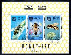 Série De 3 Timbres En Feuillet  -Abeilles - N° 1563H à 1563K - Oblitérés - Corée Du Nord - Abeilles