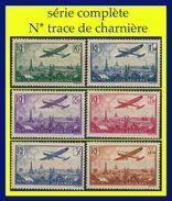 POSTE AÉRIENNE N° 8 À 13 - AVION SURVOLANT PARIS 1936 - SÉRIE COMPLÈTE N* TRACE DE CHARNIÈRE - - 1927-1959 Nuovi