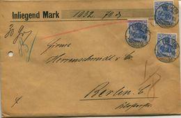 ENV 6- Allemagne - Brief Geladen - LETTRE CHARGEE De  FREIBERG ....... à  02/.1906  - 3 Timbres 20  D.Reich Bleu - Deutschland