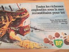 Page De Revue Des Années 60/70 : PUBLICITE BP MONNAIES ANTIQUES TRESOR DES PIRATES ; Dimensions : DOUBLE PAGE A4 - Monnaies Antiques