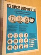 Page De Revue Des Années 60/70 : PUBLICITE BP MEDAILLONS LES CRACKS DU SPORT BELGE ; Dimensions :  PAGE A4 - Belgique