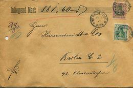 ENV 8 - Allemagne - Brief Geladen - LETTRE CHARGEE De  WERNIGERUDE à  BERLIN   20/01/.1906  - 2 Timbres    D.Reich - Deutschland