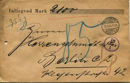 ENV 10 - Allemagne - Brief Geladen - LETTRE CHARGEE DRESDEN-NEUSTà  BERLIN   12/05/.1906  -sans Timbres   !! - Deutschland