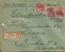 ENV 12 Allemagne - EMPFOHLENER BRIEF- LETTRE RECOMMANDEE   GORLITZ à  BERLIN   13/07/.1906 - 3 Timbres 10 D.R - Rouges - Deutschland