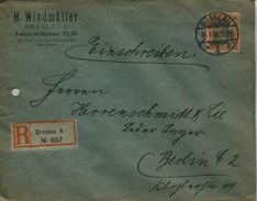 ENV 14  Allemagne - EMPFOHLENER BRIEF- LETTRE RECOMMANDEE   BRESLAU  à  BERLIN   16/01/.1906 - 1 Timbre 30 D.R - Rouge - Deutschland