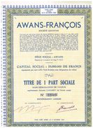 Titres Rayés De La Cote PS AWANS-FRANCOIS PART SOCIALE - Industrie