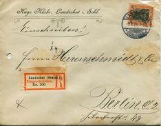 ENV 15  Allemagne - EMPFOHLENER BRIEF- LETTRE RECOMMANDEE LANDESHUT  à  BERLIN   09/08/.1906 - 1 Timbre 30 D.R - Rouge - Deutschland