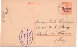 Belgique Carte Postale N° 10 Oblitérée Dave 1917 - Censure De Namur - Stamped Stationery