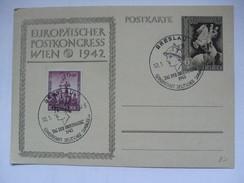 GERMANY - 1943 Postkarte - Mi P 294 Europaischen Postkongress In Wien - Breslau Sonderstempels - Deutschland
