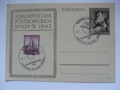 GERMANY - 1943 Postkarte - Mi P 294 Europaischen Postkongress In Wien - Breslau Sonderstempels - Alemania