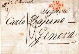 VM181 - VIA DI MARE - Lettera Deli'11 Maggio 1848 Da Livorno A Genova Con L'Achille. Coll. Stefanachi -. - Italia
