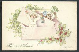 +++ CPA - Carte Fantaisie - Illustrateur BERTIGLIA - Enfant - Voeux Bonne Année - Champagne -- 1938   // - Bertiglia, A.
