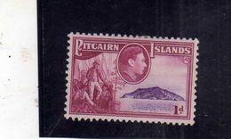 PITCAIRN ISLANDS ISOLE 1940 1951 Fletcher Christian With Crew And Coast EQUIPAGGIO E COSTA PENNY 1p MH - Francobolli