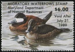 MARYLAND 1988 USA State Ducks Birds Hunting Wildlife Fauna MNH - Vereinigte Staaten