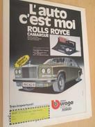 Page De Revue Des Années 60/70 : PUBLICITE VOITURES MINIATURES BURAGO 1/14e ROLLS CAMARGUE  Dimensions :  PAGE A4 - Other